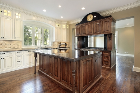 Kitchen in new construction home with island Stock Photo - 6738408