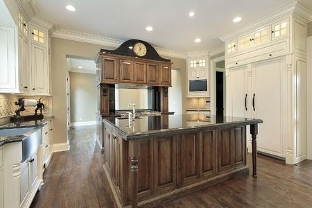 Kitchen in new construction home with island photo