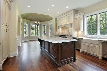 Kitchen in new construction home with island Stock Photo - 6738787