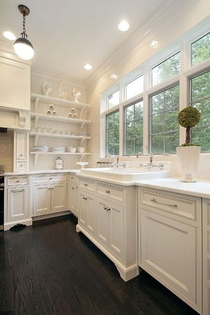 Close up of contemporary kitchen with white cabinetry Stock Photo