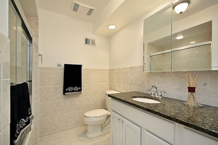 Master bath in luxury home with glass shower Stock Photo - 6738242