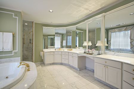 Master bath in luxury home with green walls Stock Photo - 6739204