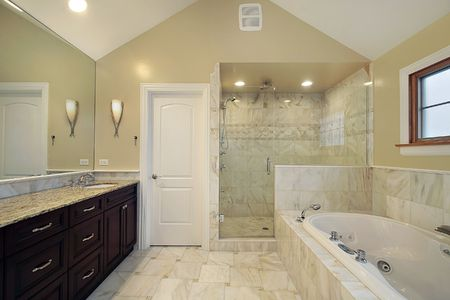 master bath: Master bath in new construction home with glass shower