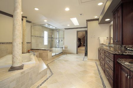 Master bath in luxury home with tub columns Stock Photo - 6738481