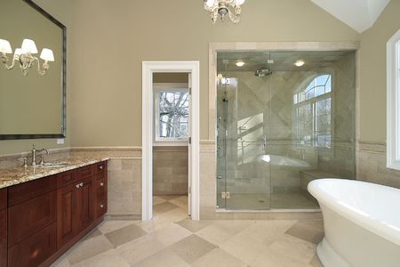 master bath: Master bath in new construction home with freestanding tub