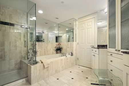 master bath: Master bath in condominium with glass shower
