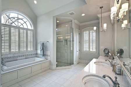 Master bath in luxury home with glass shower photo