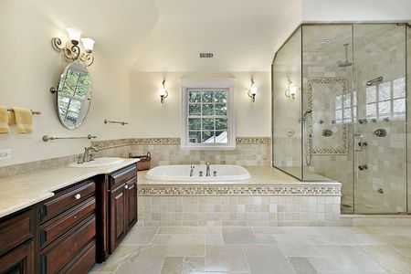 Master bath in new construction home with large glass shower photo