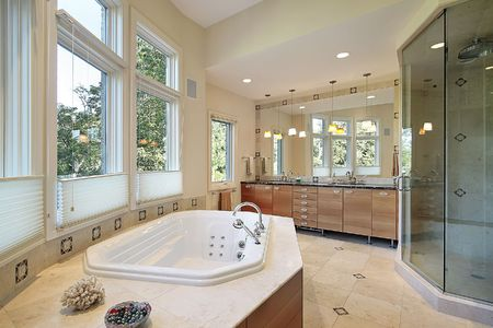 Master bath in luxury home with glass shower Stock Photo - 6738406