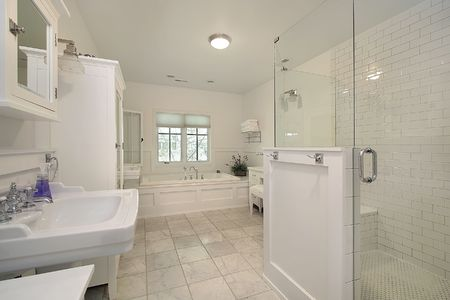 Master bath with white cabinetry and glass shower Stock Photo - 6738559