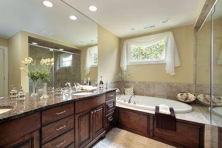 Master bath in new construction home with glass shower Stock Photo - 6738565