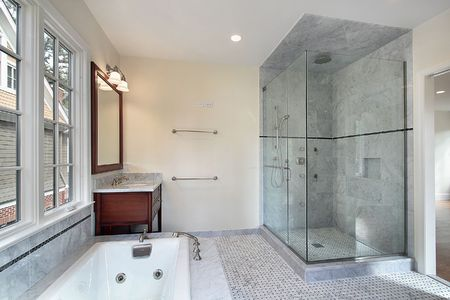 Master bath in new construction home with large glass shower Stock Photo - 6738563