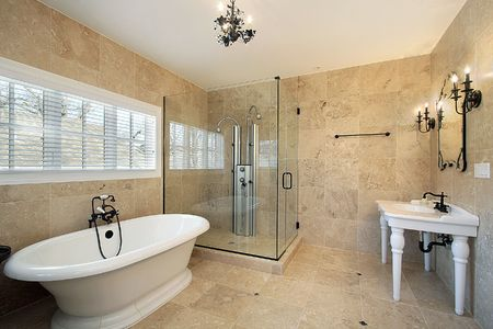master: Master bath in luxury home with large glass shower
