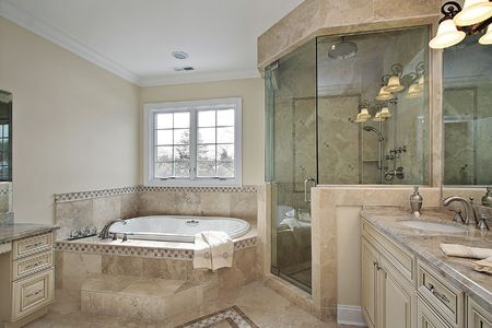 Master bath in luxury home with large glass shower Stock Photo - 6738782