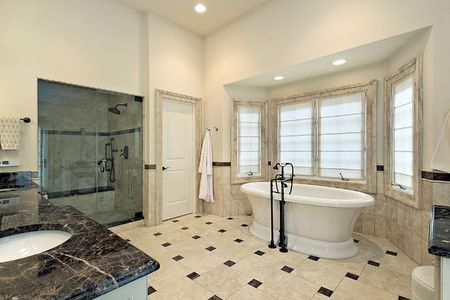 Master bath in luxury home with large tub Stock Photo - 6738760
