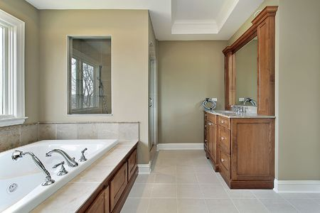 Master bath in new construction home with glass shower window Stock Photo - 6738351
