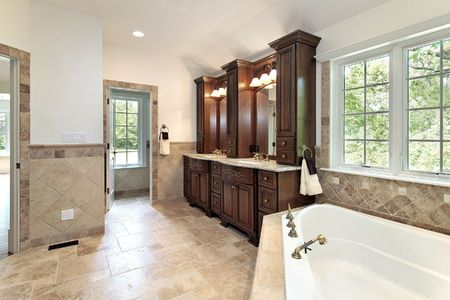 Master bath in new construction home with jacuzzi tub Stock Photo - 6738254