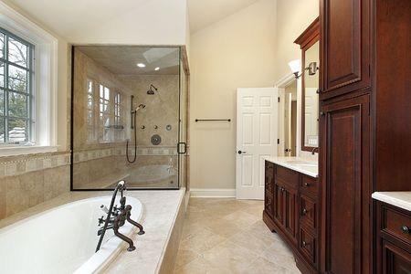 Master bath in new construction home with glass shower Stock Photo - 6738247