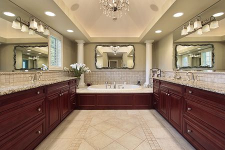 Master bath in luxury home with white columns Stock Photo - 6738980