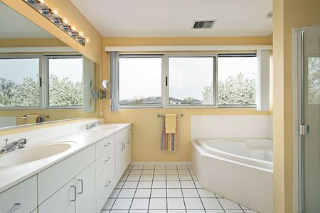 Master bath in home with yellow walls Stock Photo - 6739000