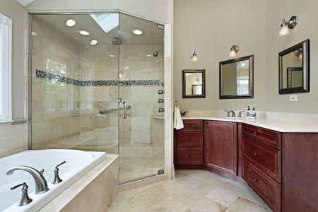Master bath in luxury home with glass shower Stock Photo - 6738924