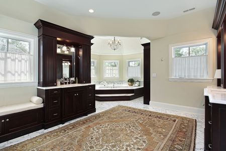 Master bath in luxury home with separate tub area Stock Photo - 6738883