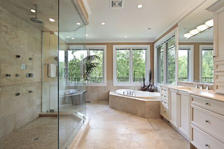 bathroom interior: Master bath in new construction home with large glass shower