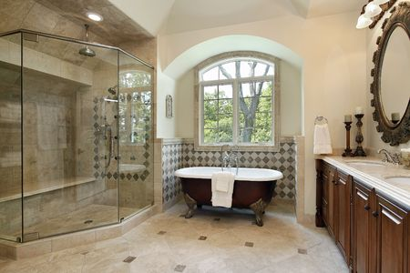bathroom interior: Master bath in luxury home with glass shower