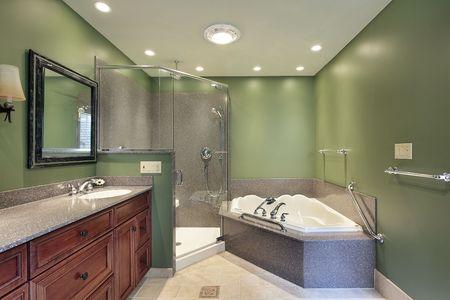 Master bath in suburban home witih green walls photo