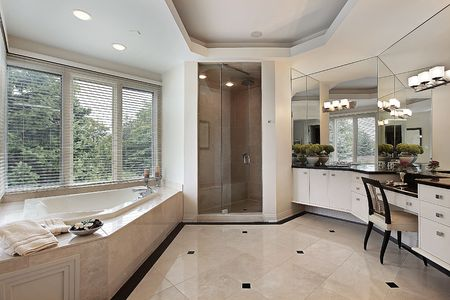 Master bath in luxury home with glass shower Stock Photo - 6738763