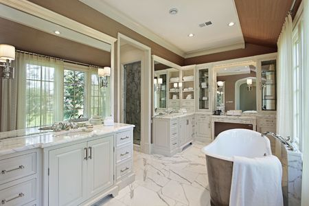 Master bath in luxury home with back yard view Stock Photo - 6739002
