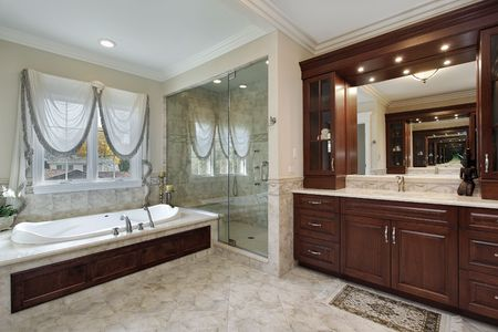 Master bath in luxury home with marble tub Stock Photo - 6738991