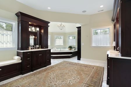 Master bath in luxury home with separate tub room Stock Photo - 6738983