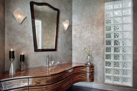 powder room: Powder room in luxury home with leaded glass
