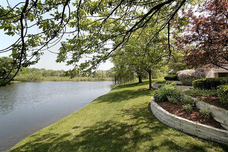 Back yard and lake of luxury suburban home photo