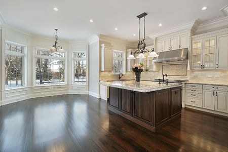 Kitchen in new construction home with eating area Stock Photo - 6739820