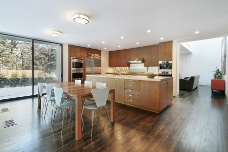 Kitchen in luxury home with eating area Archivio Fotografico