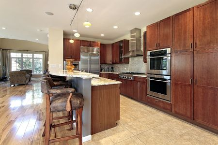 Kitchen in suburban townhouse with breakfast bar