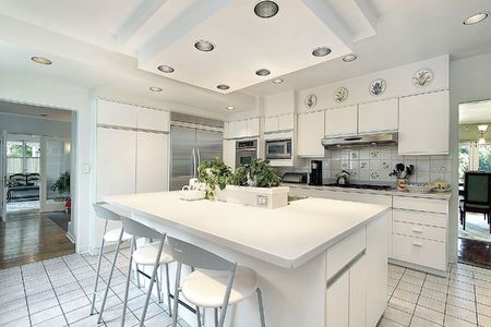 Kitchen in modern home with white cabinetry photo