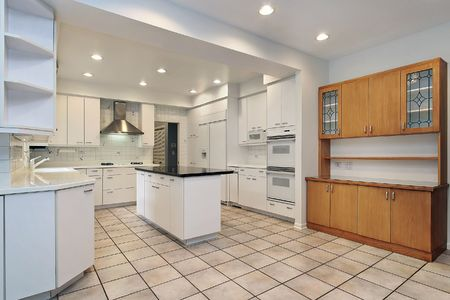 Kitchen in luxury home with white cabinetry Stock Photo - 6739647