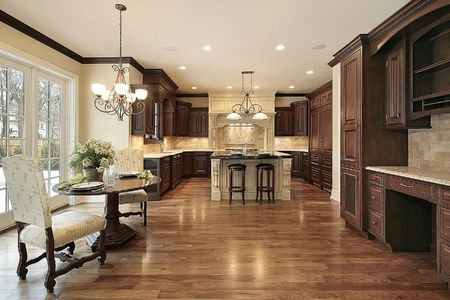 Kitchen in new construction home with eating area Stock Photo