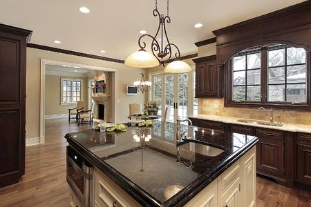 Kitchen in new construction home with large island Stock Photo - 6739835