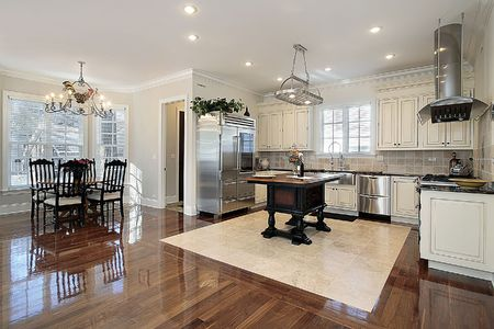 eating area: Kitchen in luxury home with eating area Stock Photo