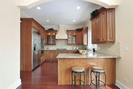 新建設のアーチ型のエントリを持つ家の台所