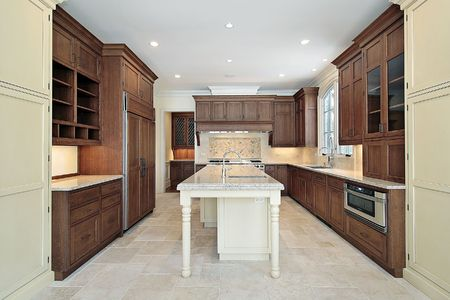 kitchen island: Kitchen in new construction home with granite island