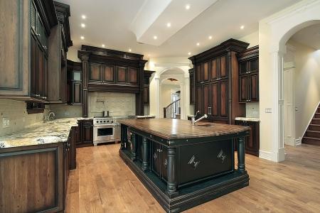 新建設の暗い木のキャビネットの家の台所