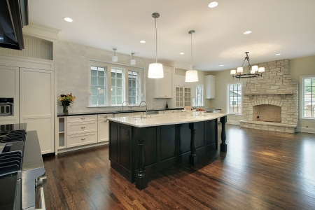 stove: Kitchen and family room with stone fireplace