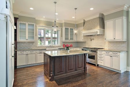 on kitchen: Kitchen in new construction home with granite island