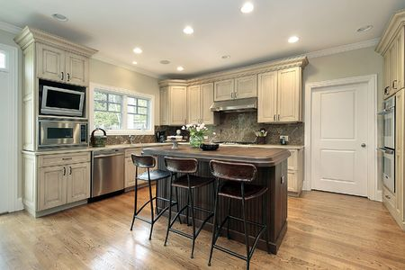 Kitchen in luxury home with wood island Stock Photo - 6739661
