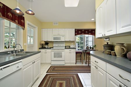 Kitchen in suburban home with white cabinetry Stock Photo - 6740453